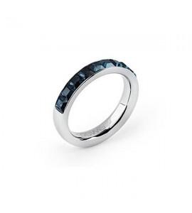 anello tring acciaio 316L cristalli swarovski blu montana energia