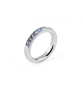 anello tring acciaio 316L cristalli swarovski light sapphire libertà