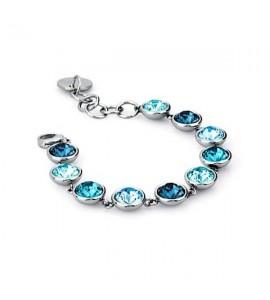 bracciale acciaio 316L b-tring cristalli montana light turquoise indicolite aquamarine swarovski