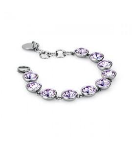 bracciale acciaio 316L b-tring cristalli violet swarovski