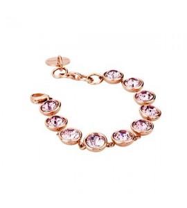 bracciale acciaio 316L b-tring pvd oro rosa cristalli antique pink swarovski
