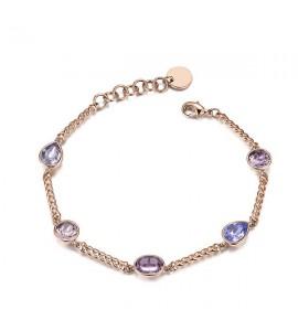 bracciale affinity in ottone semirigido galvanica oro rosa e cristalli swarovski vintage rose provence lavender light amethyst s