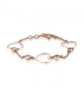Bracciale Sight in acciaio 316L pvd oro rosa cristalli Swarovski crystal, silk, vintage rose, blush rose e crystal antique pink