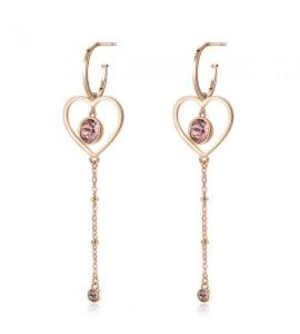 Orecchini Sight in acciaio 316L pvd oro rosa cristalli Swarovski blush rose e vintage rose bgh22