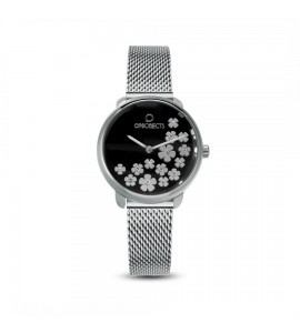 Orologio opsobjects Bold Flower crystal silver black opspw-591