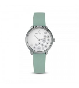 Orologio opsobjects Bold Flower da donna crystal silver pelle verde opspw-607