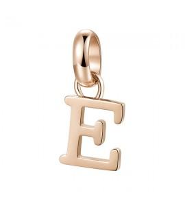Charm Très Jolie in acciaio 316L pvd oro rosa lettera E btjm224