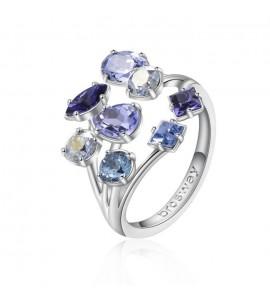 Anello Affinity in ottone rodiato misura 18 con swarovski tanzanite light sapphire crystal blue shade aquamarine e provence lave