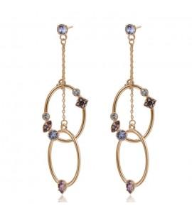Orecchini Affinity in ottone galvanica oro rosa e cristalli Antique Pink Provence Lavender Crystal Blue Shade Swarovski bff100