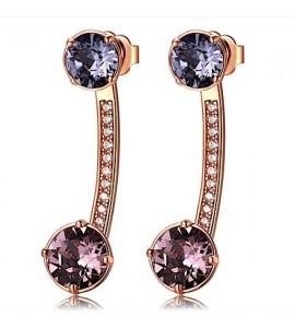 Orecchini Affinity in ottone galvanica oro rosa cristalli colorati swarovski zirconi bff25