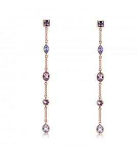 Orecchini Affinity in ottone galvanica oro rosa cristalli swarovski vintage rose provence lavender bff62