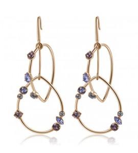 Orecchini Affinity in ottone galvanica oro rosa e cristalli Antique Pink Provence Lavender Crystal Blue Shade Swarovski bff92