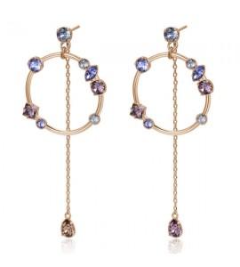 Orecchini Affinity in ottone galvanica oro rosa e cristalli Antique Pink Provence Lavender Crystal Blue Shade Swarovski bff96