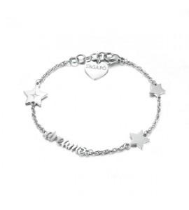 bracciale in acciaio 316L e cristallo bianco della linea fancy