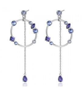 Orecchini Affinity in ottone rodiato cristalli Tanzanite Light Sapphire Crystal Blue Shade Swarovski bff94