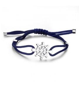 bracciale in acciaio e cordino blu della linea nautika con timone