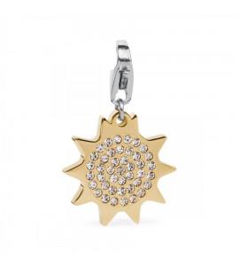 Charm Happy donna gioielli Sagapò in acciaio 316L pvd oro Sole cristalli bianchi sha149