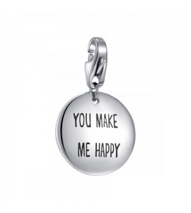 Charm Happy in acciaio 316L Medaglia incisa You make me happy sha210