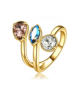 anello affinity in ottone e galvanica oro misura 14 con swarovski vintage rose light sapphire shimmer e light silk