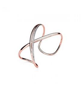 bracciale rigido ribbon in ottone rodiato galvanica oro rosa e zirconi a forma di infinito