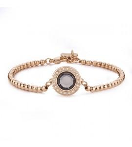 Bracciale Luna in acciaio 316L pvd oro rosa con cristalli gold quarz slu21