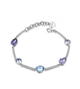 bracciale semirigido affinity in ottone rodiato cristalli swarovski smoky mauve provence lavender aquamarine light azore tanzani