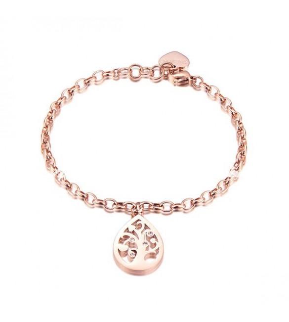 più recente f1c00 c4cde Bracciale donna gioielli Sagapò Rugiada in acciaio 316L pvd oro rosa catena  con Albero Della Vita e cristalli sru12