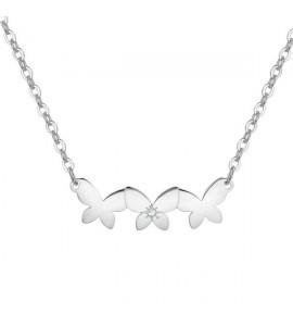 Collana Trio in acciaio 316L con Farfalle cristallo bianco e incisione sri08