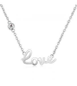 Collana Write in acciaio 316L con scritta Love e cristallo bianco swt01