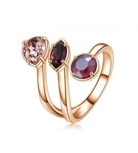 anello affinity in ottone e galvanica oro rosa misura 14 con swarovski crystal antique pink amethyst crystal dark red