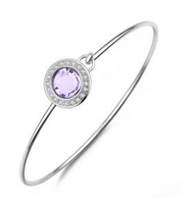 Bracciale Luna rigido in acciaio 316L con cristalli violet slu16