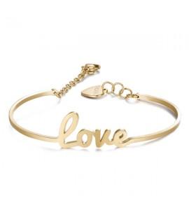 Bracciale Write rigido in acciaio 316L pvd oro con scritta Love swt14