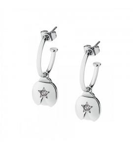 Orecchini Estrella in acciaio 316L Coccinella con cristalli bianchi sre36