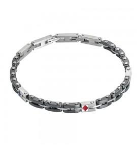 Bracciale Man modulare in acciaio, Pvd nero e smalto rosso abr420n