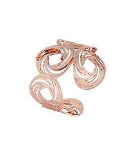 Bracciale Vortice a fascia placcato oro rosa con motivo decorativo a vortice e zirconi xbr709rs
