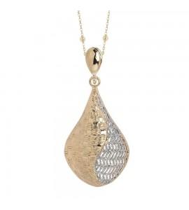 Collana Alissa in bronzo placcata oro giallo con pendente romboidale in elettrofusione xgr414d