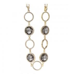 Collana Sharada in bronzo placcato oro giallo doppio filo con cristalli smoky quartz e zirconi xgr263d