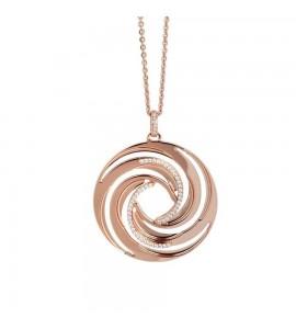 Collana Vortice in bronzo con pendente placcato oro rosa dal decoro a vortice e zirconi xgr418rs