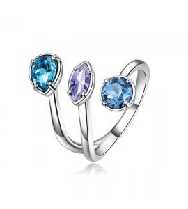 anello affinity in ottone misura 14 con swarovski aquamarine light sapphire e provence lavender