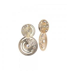 Orecchini Maya in bronzo placcati oro giallo con pendenti di ispirazione Maya e Swarovski xor375d