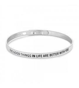 Bracciale Happy rigido in acciaio 316L con scritta The good things in life are better with you shae05
