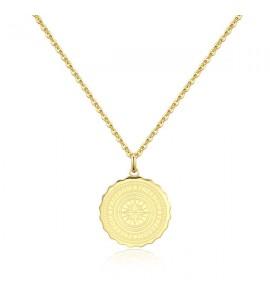 Collana gioielli donna Sagapò Lucky Coin in acciaio 316L pvd oro con incisione sky06