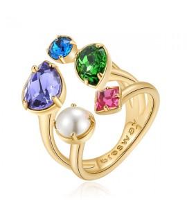 anello affinity ottone galvanica oro perla cristalli colorati swarovski