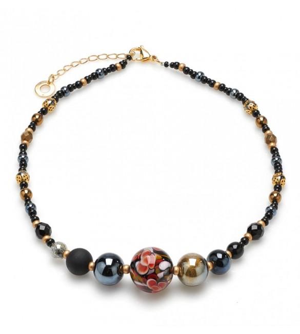 più amato 8f7b1 0d326 Collana donna gioielli Antica Murrina Crystallized Blossom girocollo nero  cob08a14