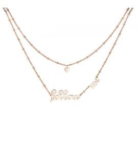 Collana donna gioielli Brosway Script a due fili in acciaio 316L pvd oro rosa con scritta brp04