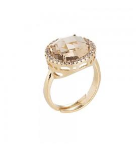 Anello donna gioielli Boccadamo Sharada in bronzo placcato oro con cristallo champagne xan080d