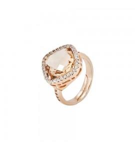 Anello donna gioielli Boccadamo Sharada in bronzo placcato oro rosa con cristallo peach xan118rs