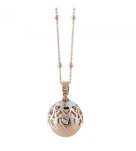 Collana donna gioielli Boccadamo Angelomio bicolor con ciondolo sonoro e cuori traforati tr-gr04