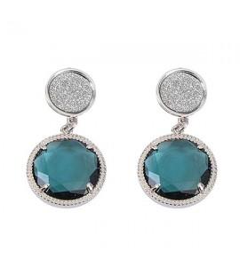 Orecchini donna gioielli Boccadamo pendenti con superfici glitterate e cristallo blu London xor149