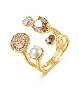 anello affinity ottone galvanica oro perla cristalli colorati swarovski zirconi